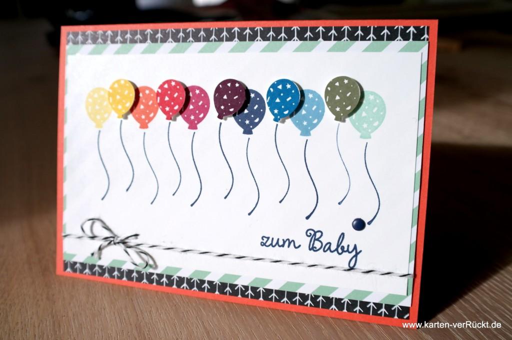 Baby Karte mit Luftballons