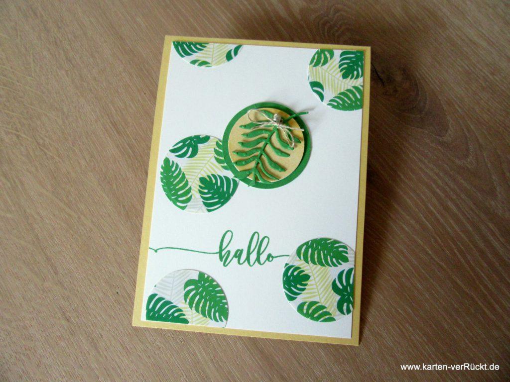 Gruß Karte mit Stickern und hallo
